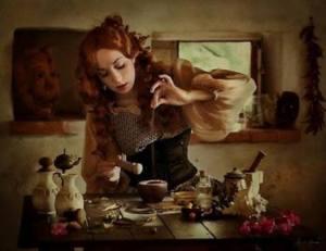 Kvinna lantligt kök