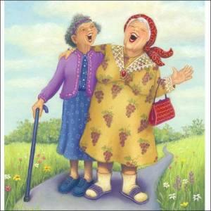 Tanter skrattar promenad