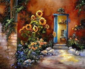 Blommor dörr blå