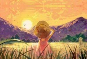 Flicka hatt berg sol
