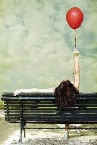 Kvinna bänk ballong