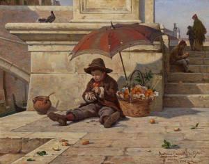 Pojke paraply frukt