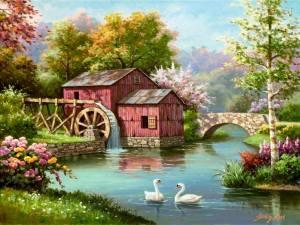 Vattenfall sjö hus