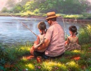 Familj fiskar