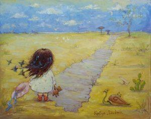 Flicka gångväg