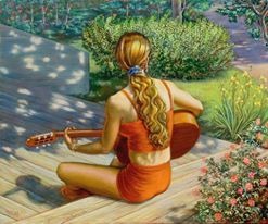 Kvinna altan natur