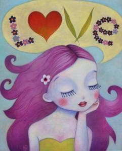 kvinna lila hår