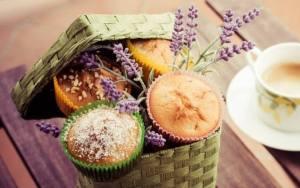 Muffins korg lavendel