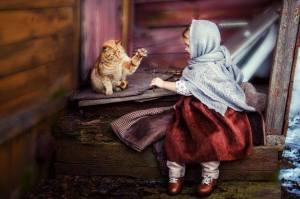 Flicka katt höst
