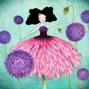 Flicka rosa svart