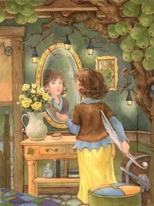 Kvinna spegelbord