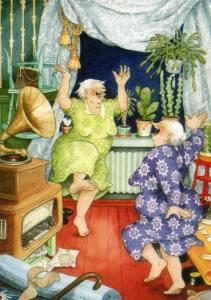 Tanter har kul vardagsrum