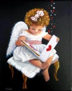Änglaflicka med hjärtabok