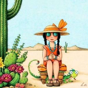 Kvinna playa kaktussar
