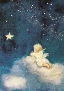 Ängel blå med stjärna