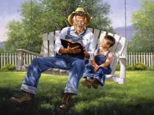 Farfar pojke hängstol ute