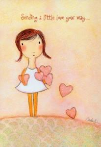 Flicka kärlek sänder