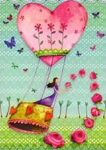 Kvinna luftballong rosa