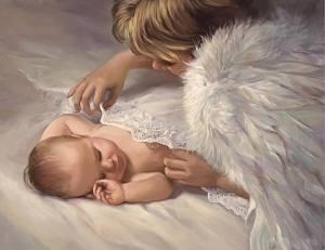 Änglabarn med bebis