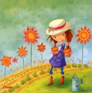 Flicka hatt blommor rolig