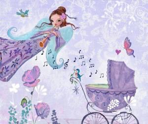 Kvinna barnvagn lila