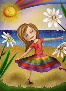 Kvinna regnbågsfärger