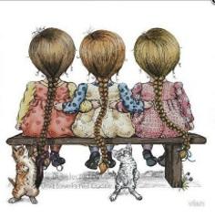 Flickor tre bänk liten