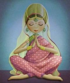 Kvinna rosa meditation liten