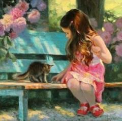 Flicka katt parkbänk liten