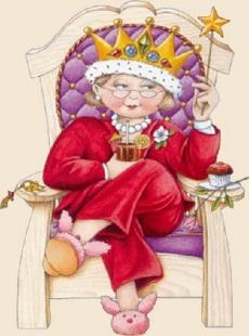Kvinna kung stol liten