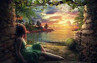 Kvinna träd grönt drömmer