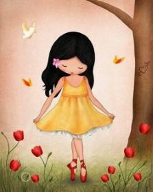 Flicka gul klänning liten