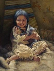 Indianflicka söt räv liten