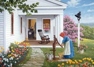 kvinna hus vattenpump kopia