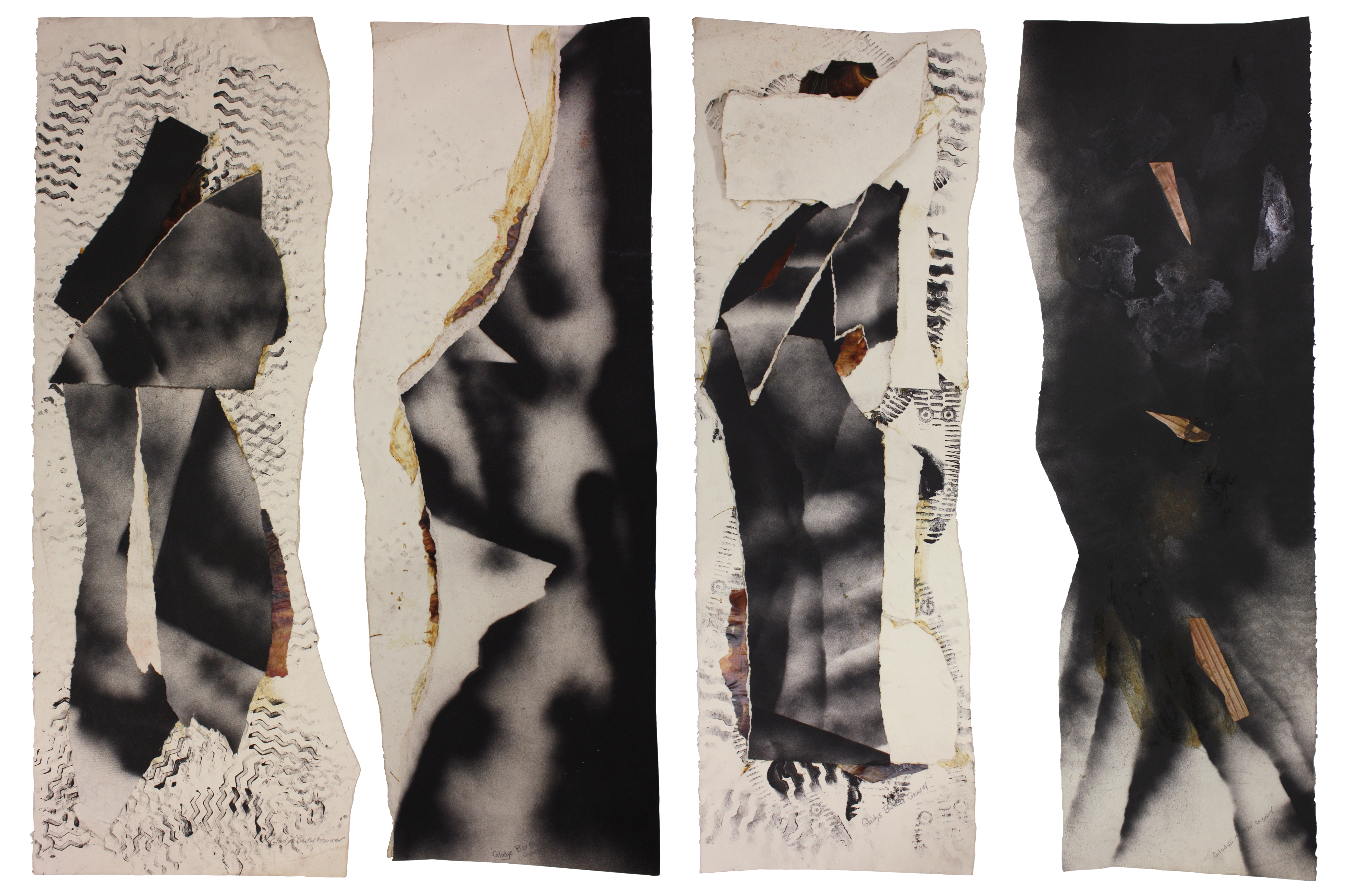 """""""Untitled Mixed Media Collage Experiments"""", Mixed Media Collage, 40x16IN Each"""