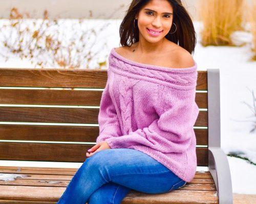 Romwe purple off shoulder sweater