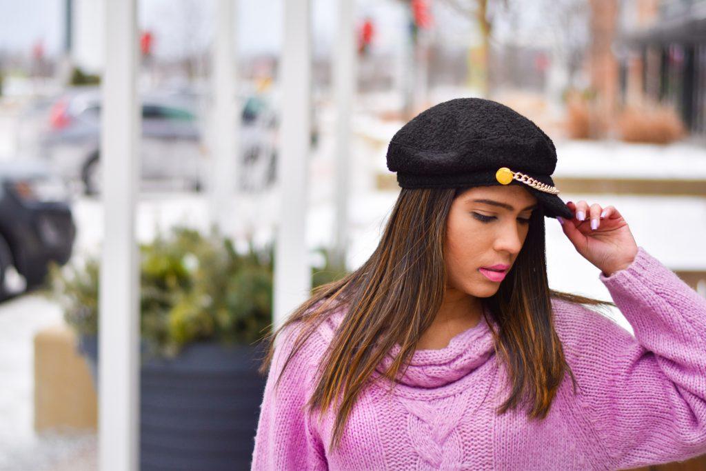 Romwe sweater and Scala cap
