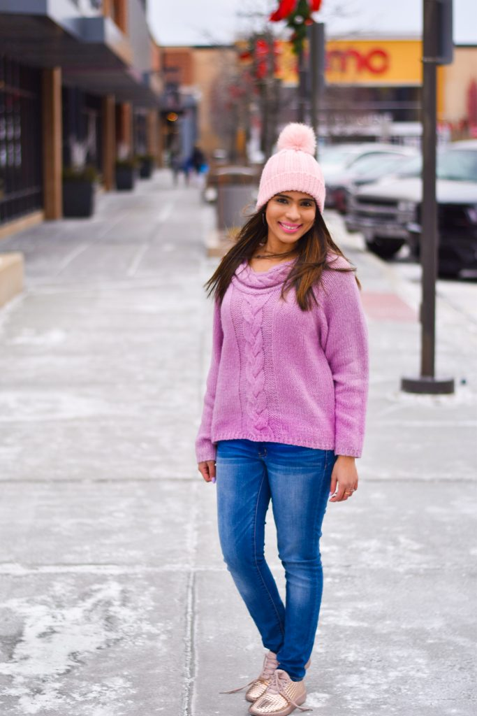 Romwe sweater and pink beanie