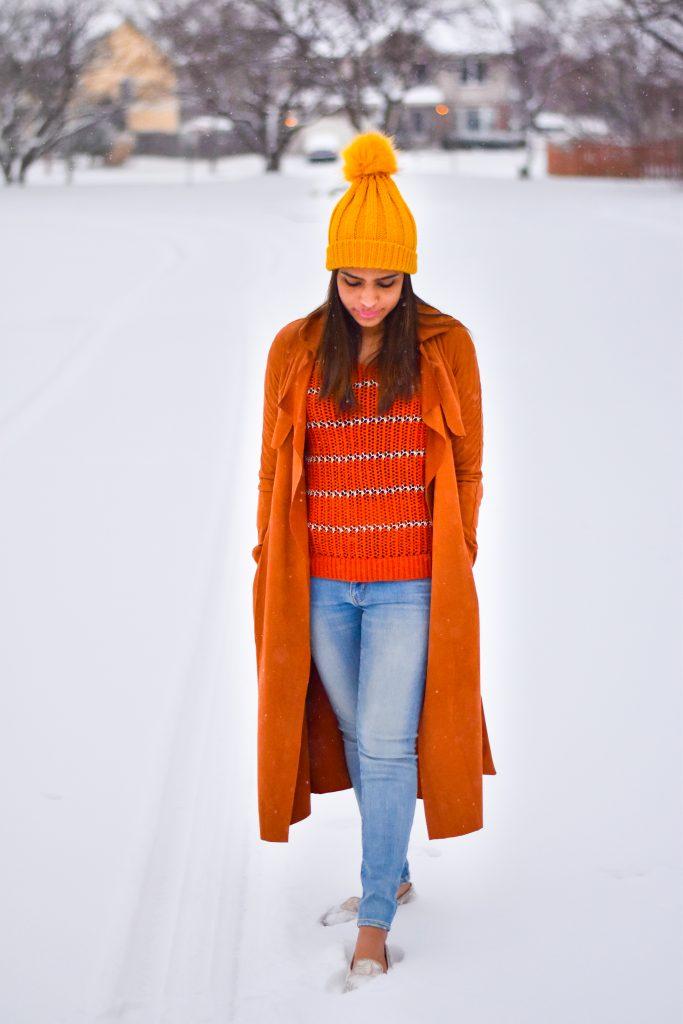 Suede coat in snow