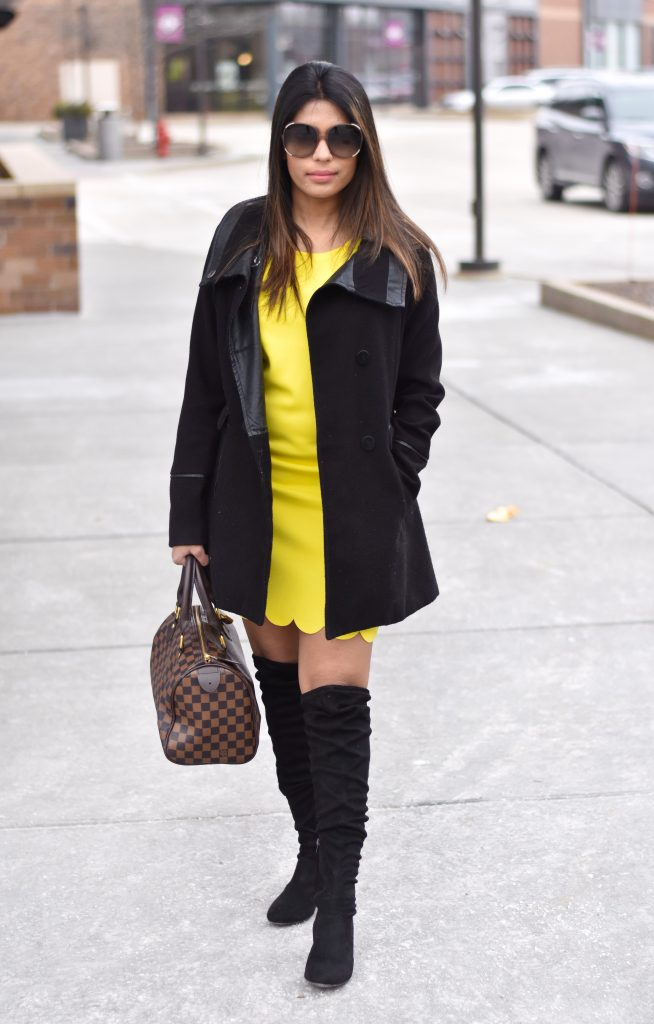 Yellow dress with coat