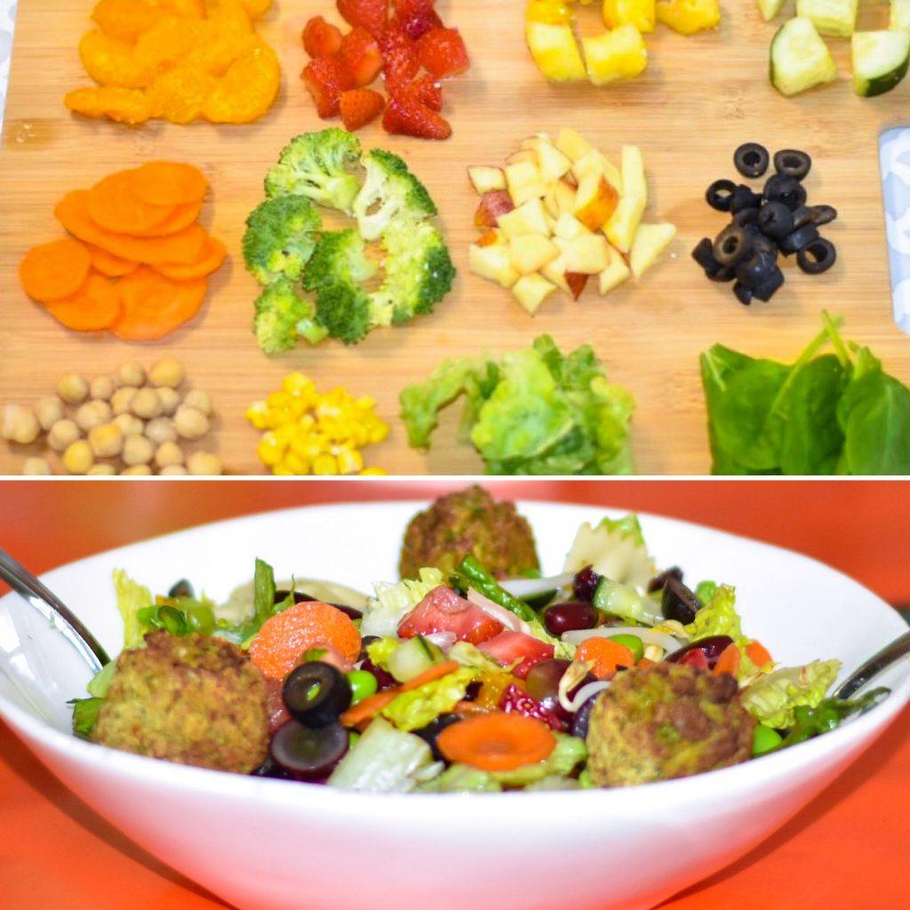 Salad and falafel
