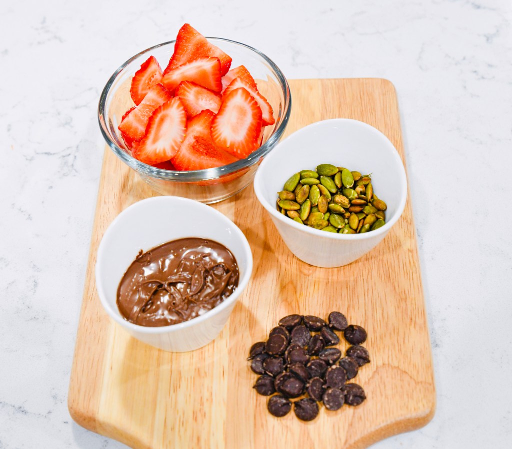 Ingredients for Strawberry Chocolate Almond Butter Sandwich
