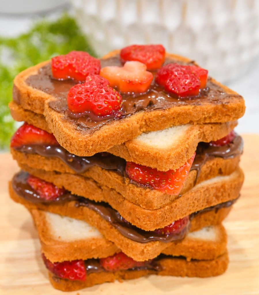 Layer of Chocolate Bread and Strawberries