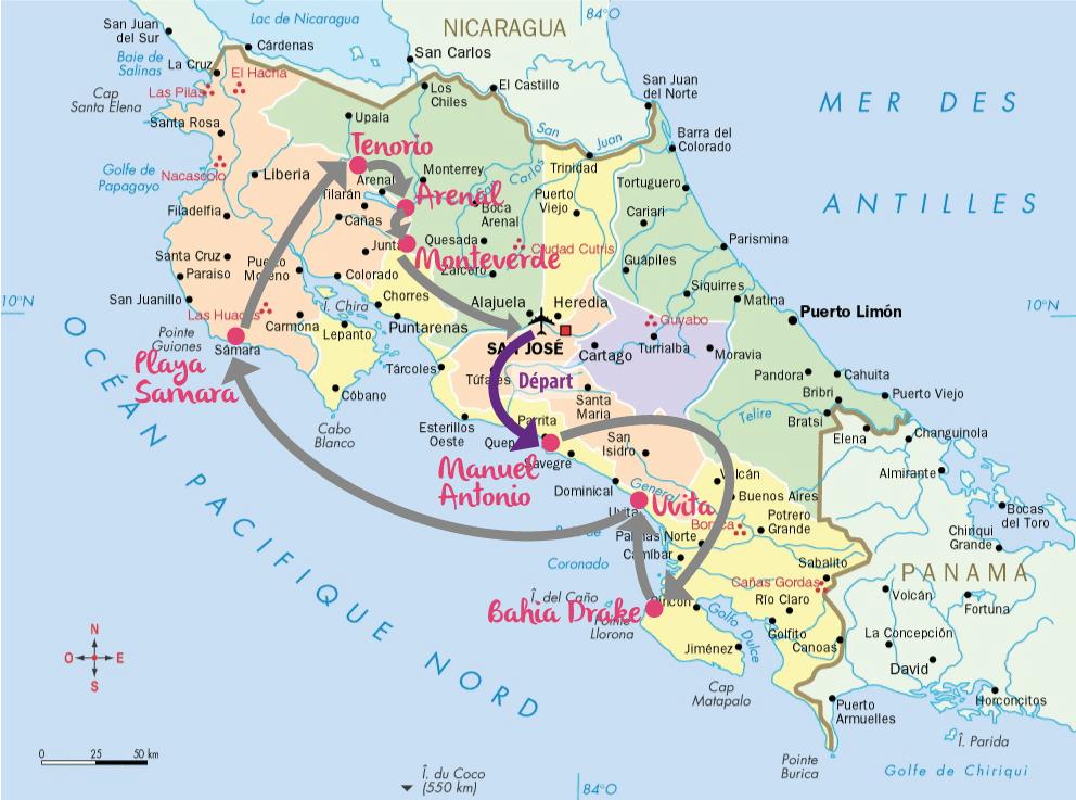 Au Costa Rica, la nature et les animaux sont rois. Durant ce voyage, j'en ai pris plein les yeux : tapirs, toucans, tatous, tortues, rafting, tyrolienne... Des belles vacances en communion avec la nature. Je partage avec vous mon itinéraire de 16 jours à la découverte des parcs nationaux et des superbes plages : Monteverde, Arenal, Tenorio, Corcovado, Manuel Antonio…