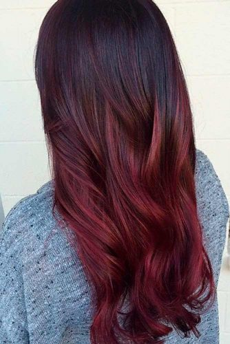 Red Ombre Hair On Black Hair Hair Coloring
