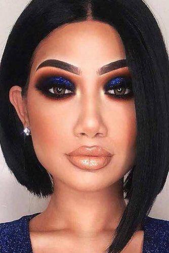 Dark Blue Smokey Eyes Makeup #darkblueeyes