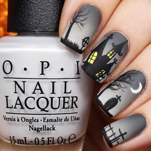 Haunted House Nails Nail Art Design