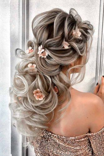 Cute Wedding Hairstyle With Flower