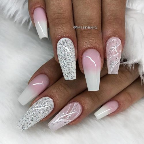 Mixed Design With Ombre And Stone Marble Art #marblenails #ombrenails