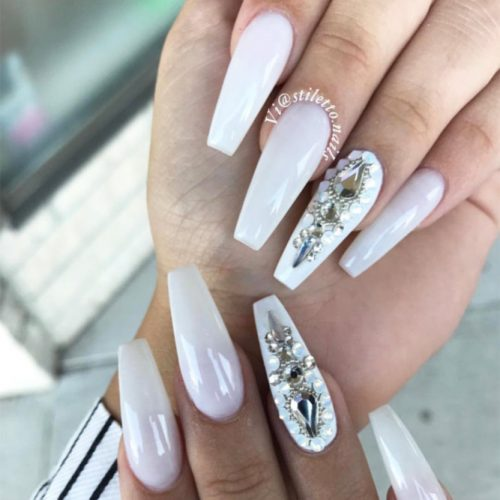 White Coffin Nails With Silver Rhinestones #ringfingeraccent #crystalsnails